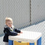 young toddler playing outside at a daycare